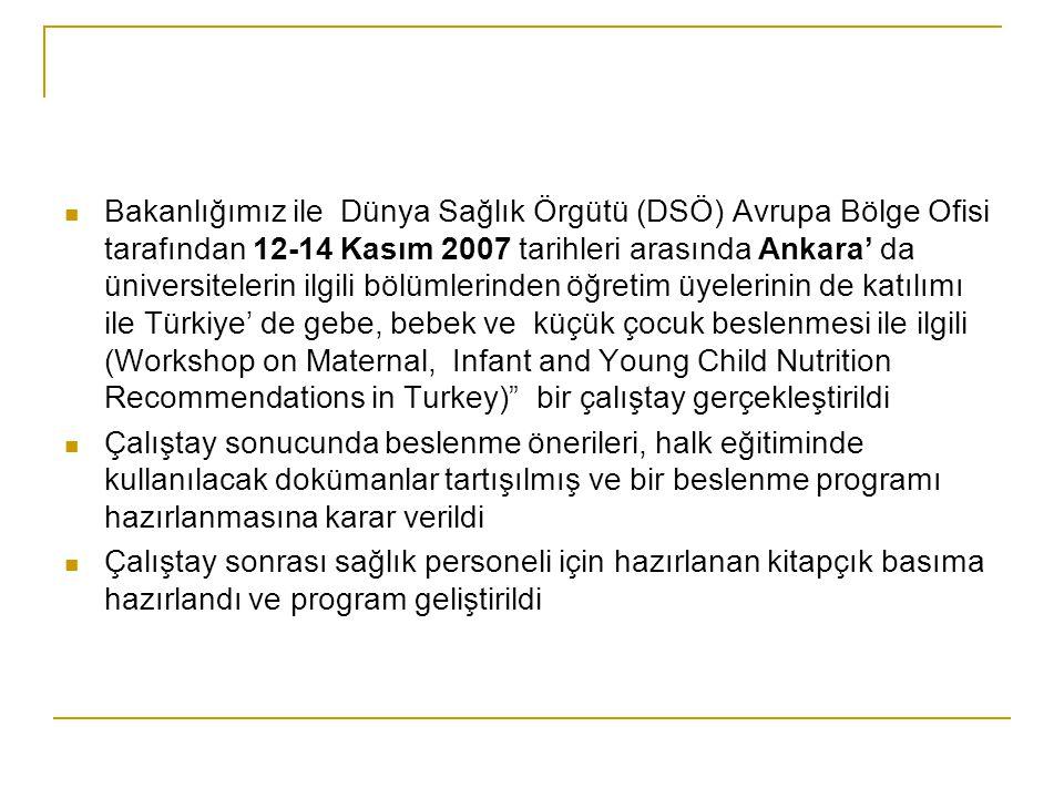  Bakanlığımız ile Dünya Sağlık Örgütü (DSÖ) Avrupa Bölge Ofisi tarafından 12-14 Kasım 2007 tarihleri arasında Ankara' da üniversitelerin ilgili bölüm
