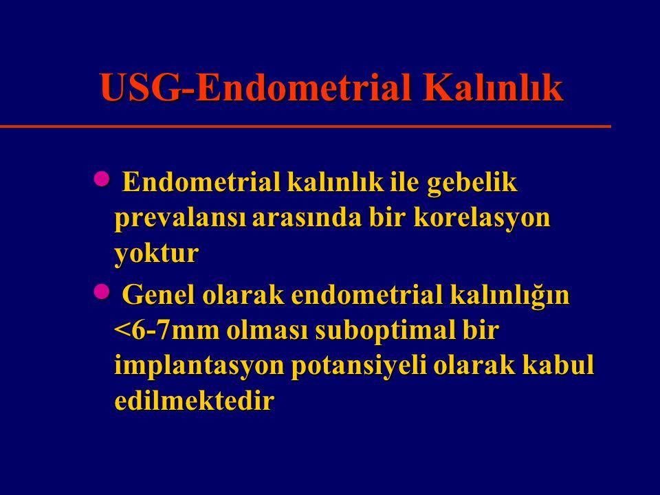 USG-Endometrial Kalınlık  Endometrial kalınlık ile gebelik prevalansı arasında bir korelasyon yoktur  Genel olarak endometrial kalınlığın <6-7mm olması suboptimal bir implantasyon potansiyeli olarak kabul edilmektedir