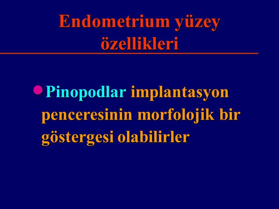 Endometrium yüzey özellikleri  Pinopodlar implantasyon penceresinin morfolojik bir göstergesi olabilirler