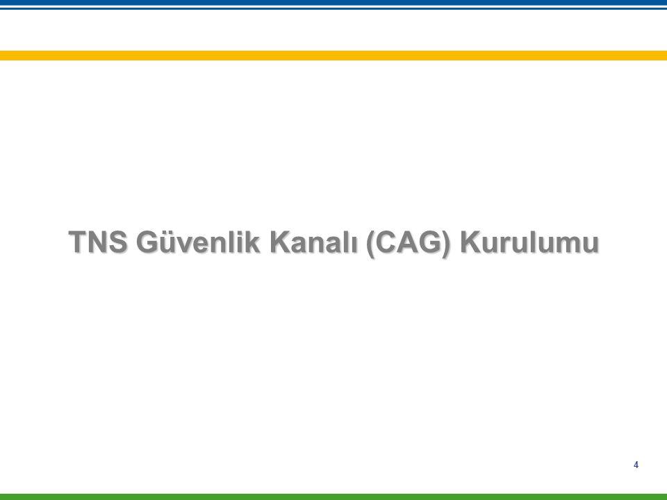 4 TNS Güvenlik Kanalı (CAG) Kurulumu