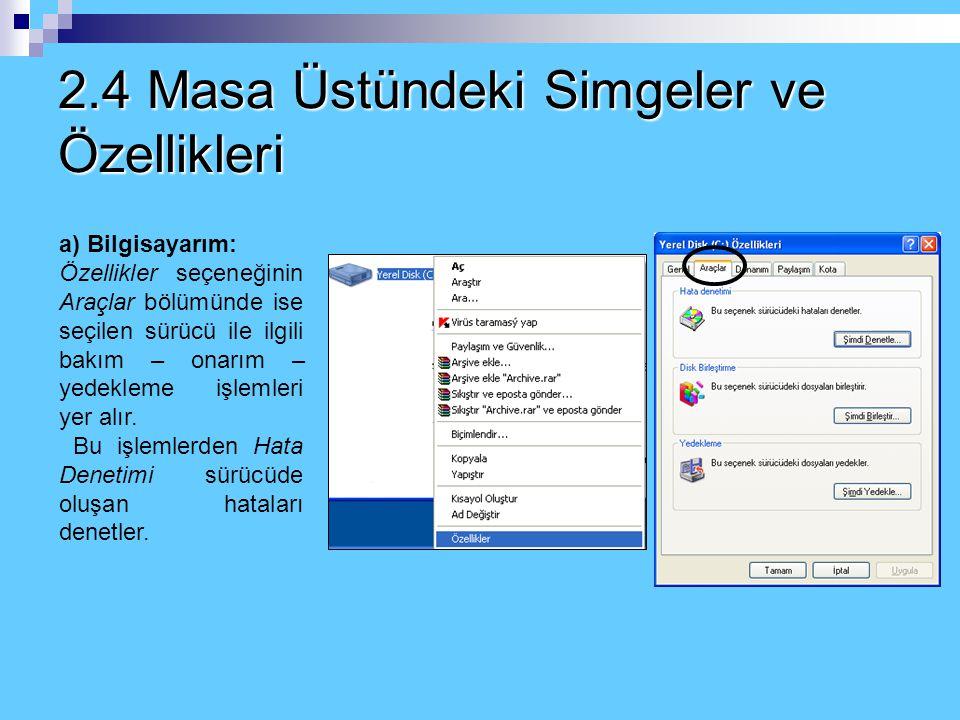 2.4 Masa Üstündeki Simgeler ve Özellikleri a) Bilgisayarım: Bilgisayarım ekranında yer alan sürücülerden (disket, harddisk, cd sürücü, usb bellek) her