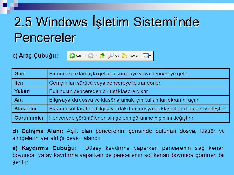 2.5 Windows İşletim Sistemi'nde Pencereler 3. Aşağı Geri Getir (Önceki boyut) : Ekranı kaplamış bir pencerenin tekrar önceki boyutuna dönmesini sağlar