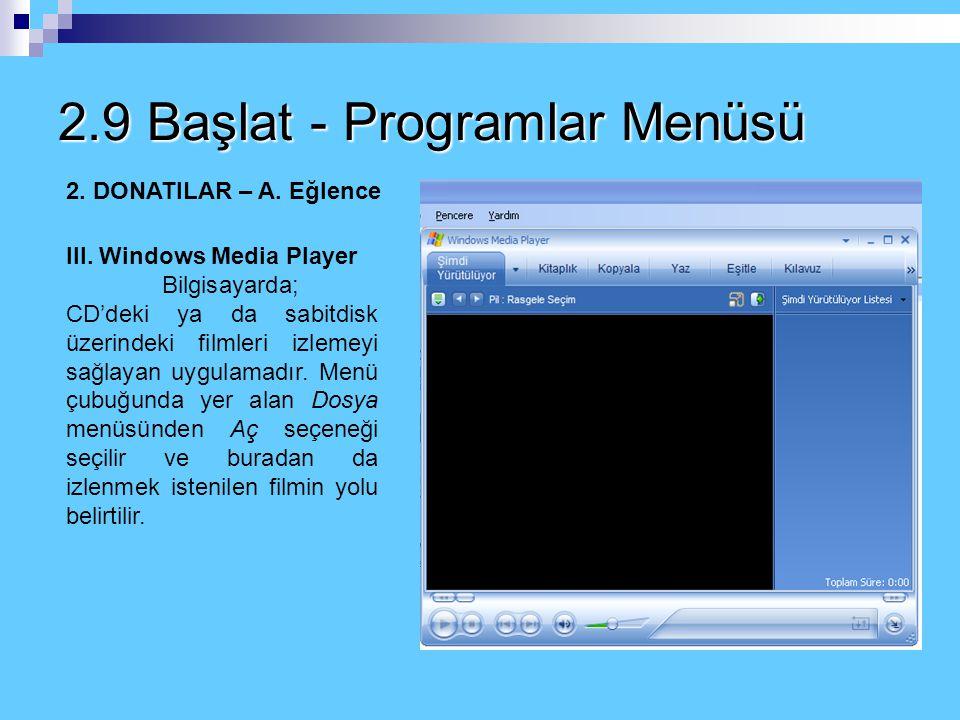 2.9 Başlat - Programlar Menüsü 2. DONATILAR – A. Eğlence I. Ses Ayarı Denetimi Bilgisayarın mikrofon ve hoparlör de dahil tüm ses denetimlerinin yapıl