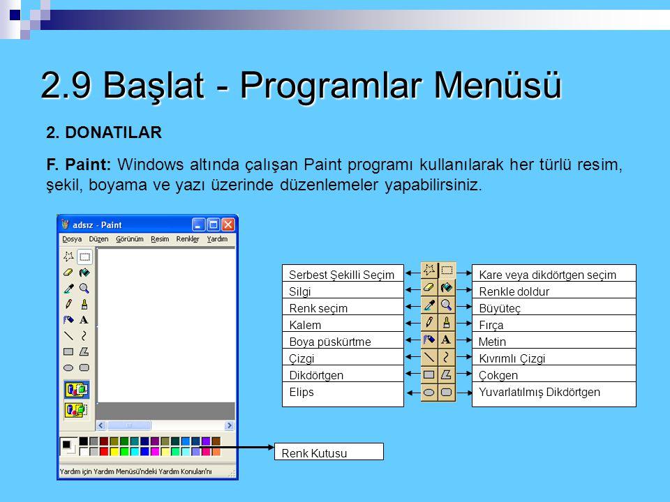 2.9 Başlat - Programlar Menüsü 2. DONATILAR E. Wordpad - Not Defteri: Microsoft Word kelime işlemci programından daha basit olarak tasarlanmış yazı pr