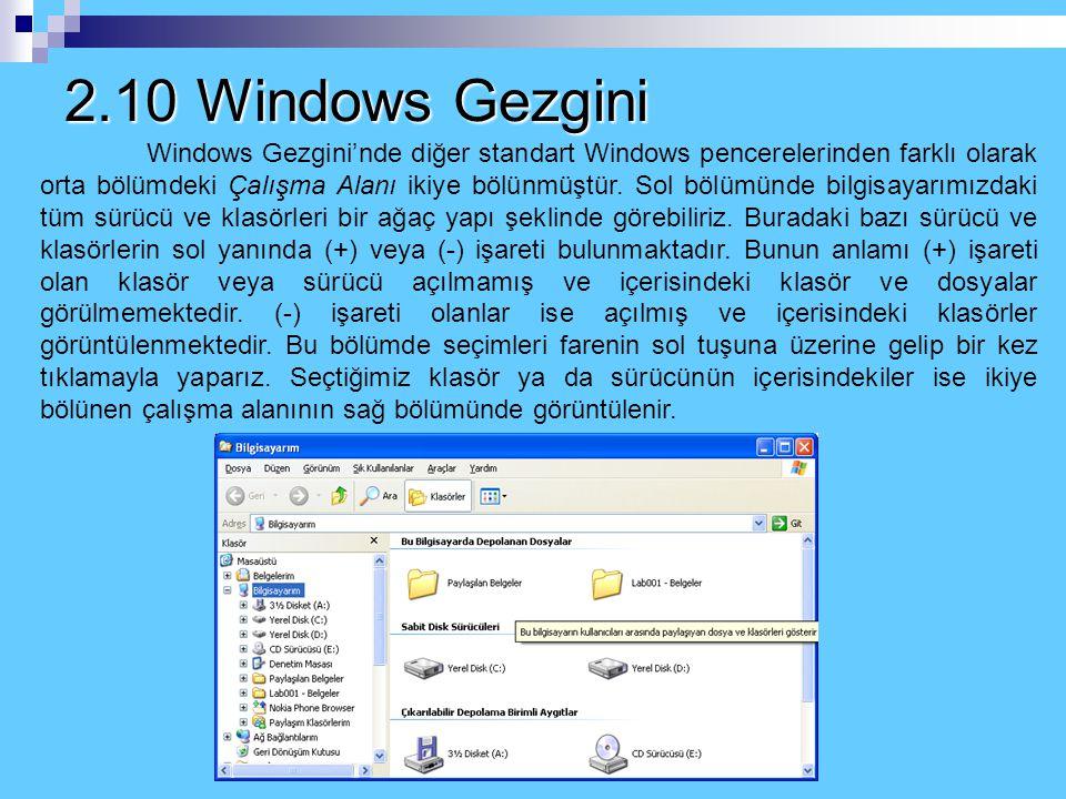 2.10 Windows Gezgini Windows Gezgini bilgisayarımızın dosya ve klasörleri arasında daha rahat bir şekilde dolaşmamıza imkan veren bir penceredir. Wind