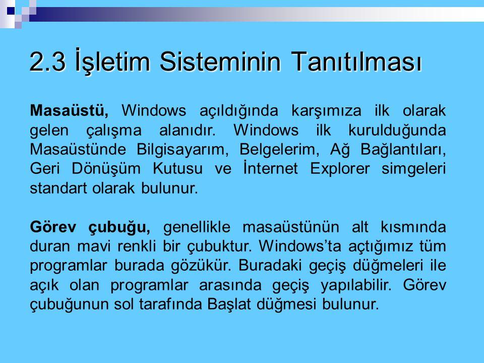 2.3 İşletim Sisteminin Tanıtılması Masaüstü, Windows açıldığında karşımıza ilk olarak gelen çalışma alanıdır.