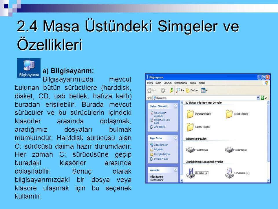 2.4 Masa Üstündeki Simgeler ve Özellikleri a) Bilgisayarım: Bilgisayarımızda mevcut bulunan bütün sürücülere (harddisk, disket, CD, usb bellek, hafıza kartı) buradan erişilebilir.