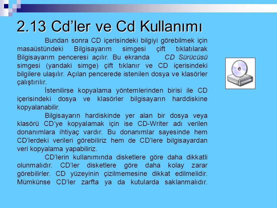 2.13 Cd'ler ve Cd Kullanımı CD (Compact Disk)'ler bilgisayarda veri kaydetmek için kullanılan bellek birimleri, bilgi depolama birimleridir. Bu biriml