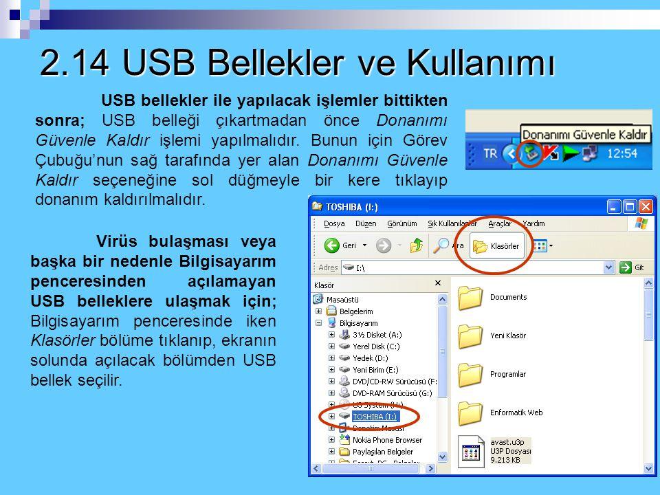 2.14 USB Bellekler ve Kullanımı USB bellekler (flash bellek) bilgisayarda veri kaydetmek için kullanılan taşınabilir bellek birimleri, bilgi depolama