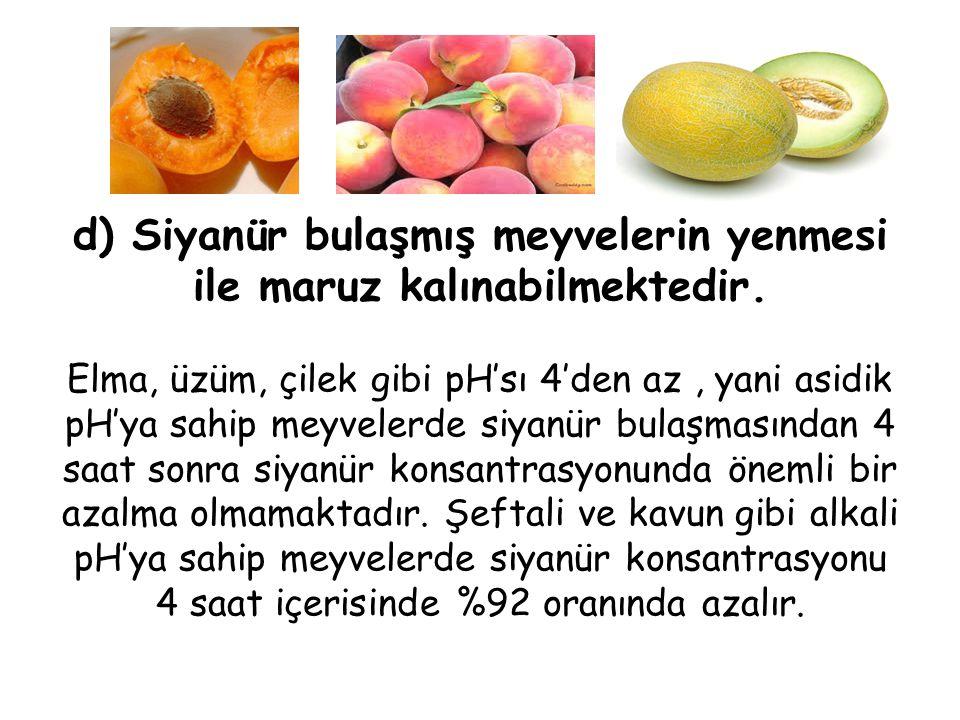 d) Siyanür bulaşmış meyvelerin yenmesi ile maruz kalınabilmektedir.