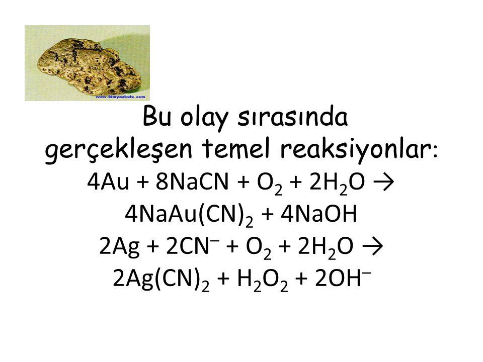 Bu olay sırasında gerçekleşen temel reaksiyonlar : 4Au + 8NaCN + O 2 + 2H 2 O → 4NaAu(CN) 2 + 4NaOH 2Ag + 2CN – + O 2 + 2H 2 O → 2Ag(CN) 2 + H 2 O 2 + 2OH –