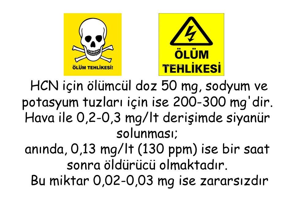 HCN için ölümcül doz 50 mg, sodyum ve potasyum tuzları için ise 200-300 mg dir.