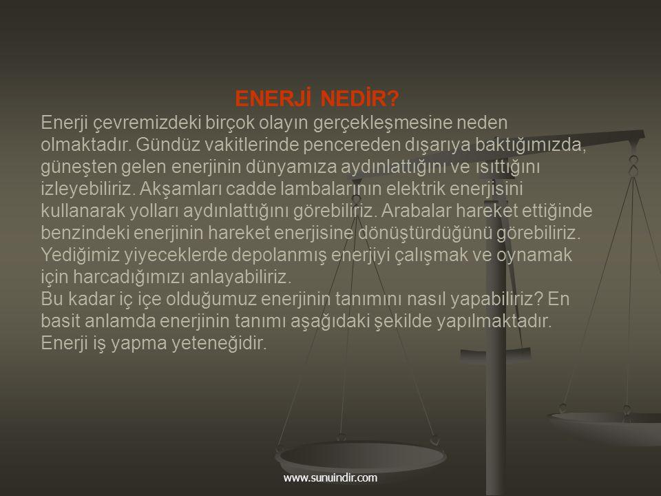 www.sunuindir.com Dünyamızda enerji değişik şekillerde bulunabilmektedir: ENERJİ ÇEŞİTLERİ ENERJİ ÇEŞİTLERİ  kimyasal enerji  elektrik enerjisi  ısı (termal enerji)  ışık  mekanik enerji  nükleer enerji....