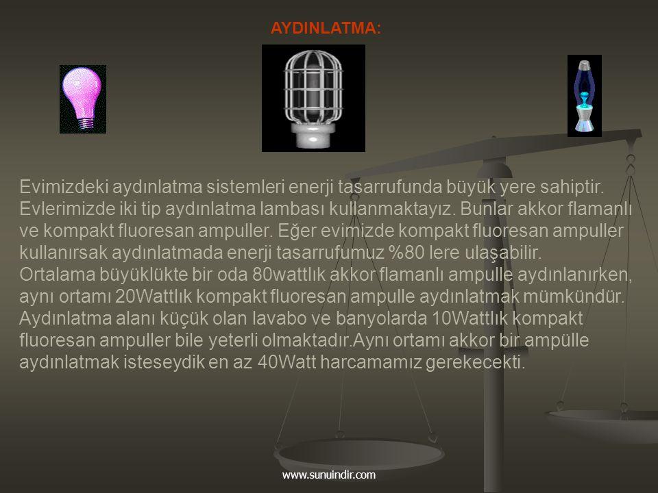 www.sunuindir.com AYDINLATMA: Evimizdeki aydınlatma sistemleri enerji tasarrufunda büyük yere sahiptir. Evlerimizde iki tip aydınlatma lambası kullanm