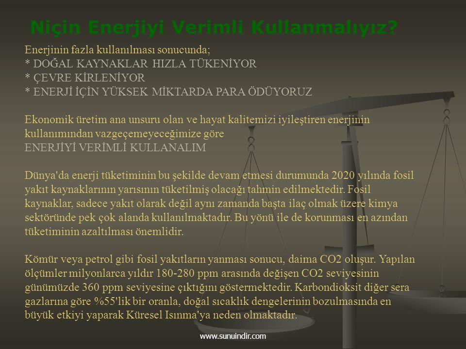 www.sunuindir.com Niçin Enerjiyi Verimli Kullanmalıyız? Enerjinin fazla kullanılması sonucunda; * DOĞAL KAYNAKLAR HIZLA TÜKENİYOR * ÇEVRE KİRLENİYOR *
