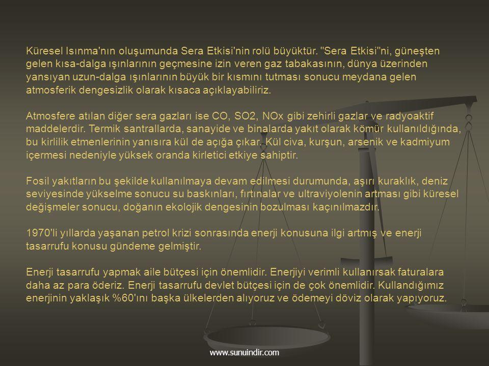 www.sunuindir.com Küresel Isınma'nın oluşumunda Sera Etkisi'nin rolü büyüktür.