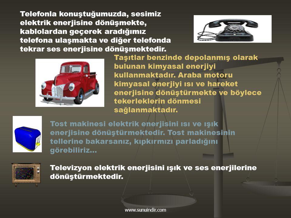 www.sunuindir.com Telefonla konuştuğumuzda, sesimiz elektrik enerjisine dönüşmekte, kablolardan geçerek aradığımız telefona ulaşmakta ve diğer telefon