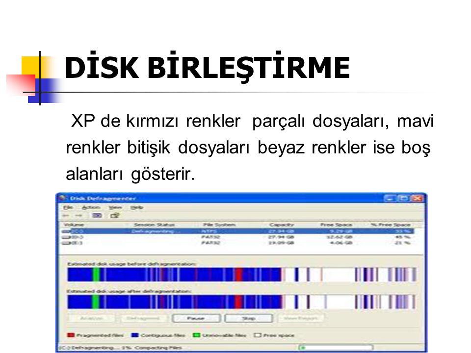 DİSK BİRLEŞTİRME XP de kırmızı renkler parçalı dosyaları, mavi renkler bitişik dosyaları beyaz renkler ise boş alanları gösterir.