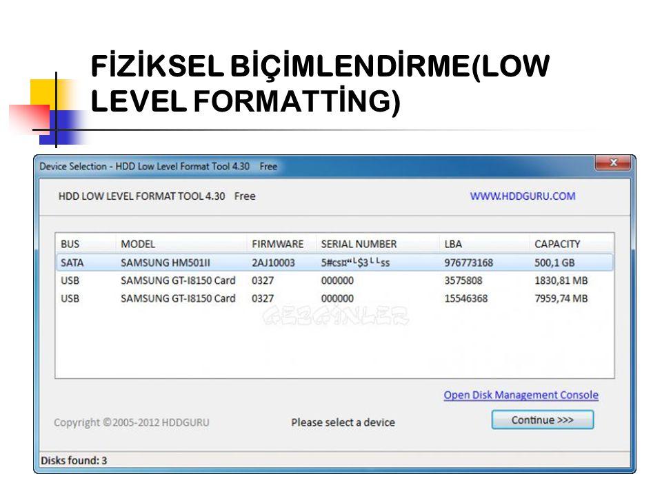 F İ Z İ KSEL B İ Ç İ MLEND İ RME(LOW LEVEL FORMATTİNG )