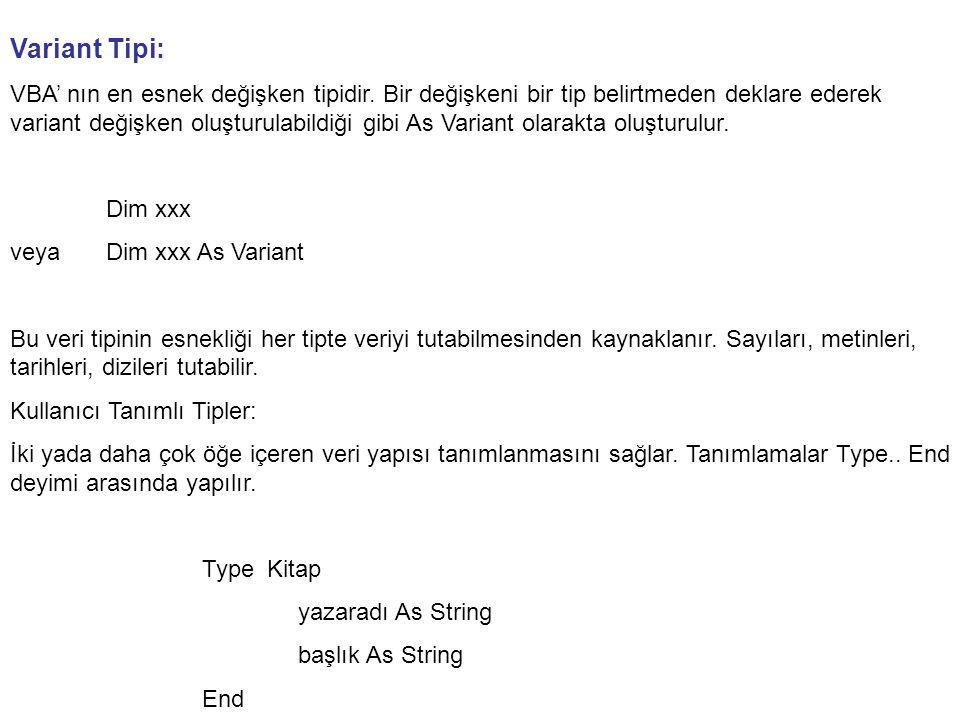 Variant Tipi: VBA' nın en esnek değişken tipidir.
