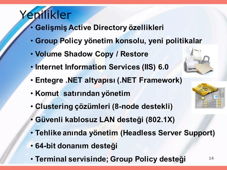 14 • Gelişmiş Active Directory özellikleri • Group Policy yönetim konsolu, yeni politikalar • Volume Shadow Copy / Restore • Internet Information Serv