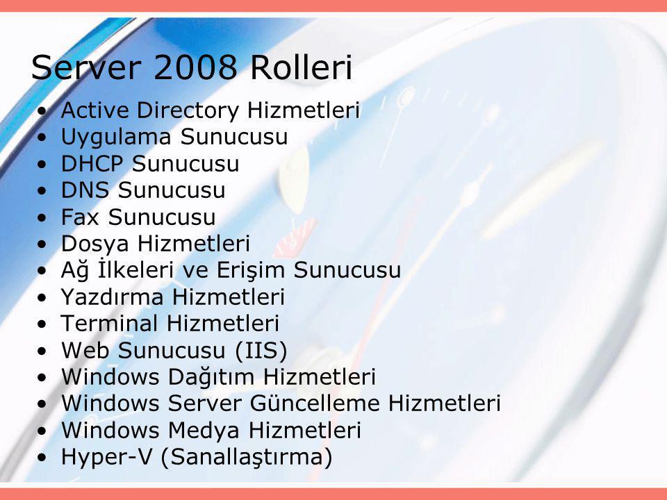 Server 2008 Rolleri •Active Directory Hizmetleri •Uygulama Sunucusu •DHCP Sunucusu •DNS Sunucusu •Fax Sunucusu •Dosya Hizmetleri •Ağ İlkeleri ve Erişi