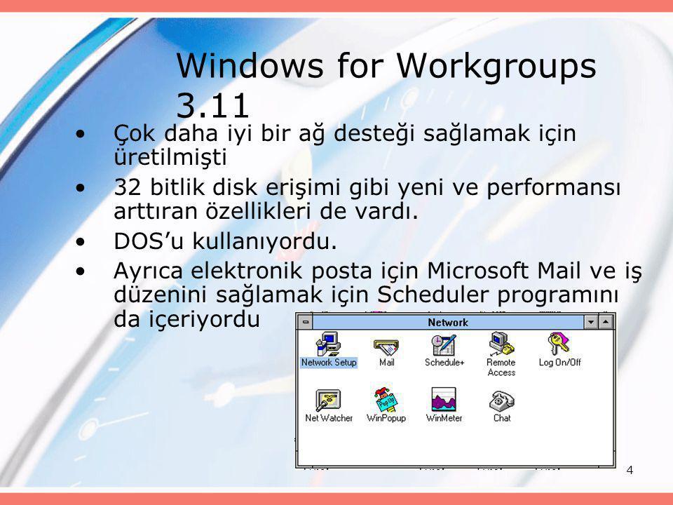 4 Windows for Workgroups 3.11 •Çok daha iyi bir ağ desteği sağlamak için üretilmişti •32 bitlik disk erişimi gibi yeni ve performansı arttıran özellik