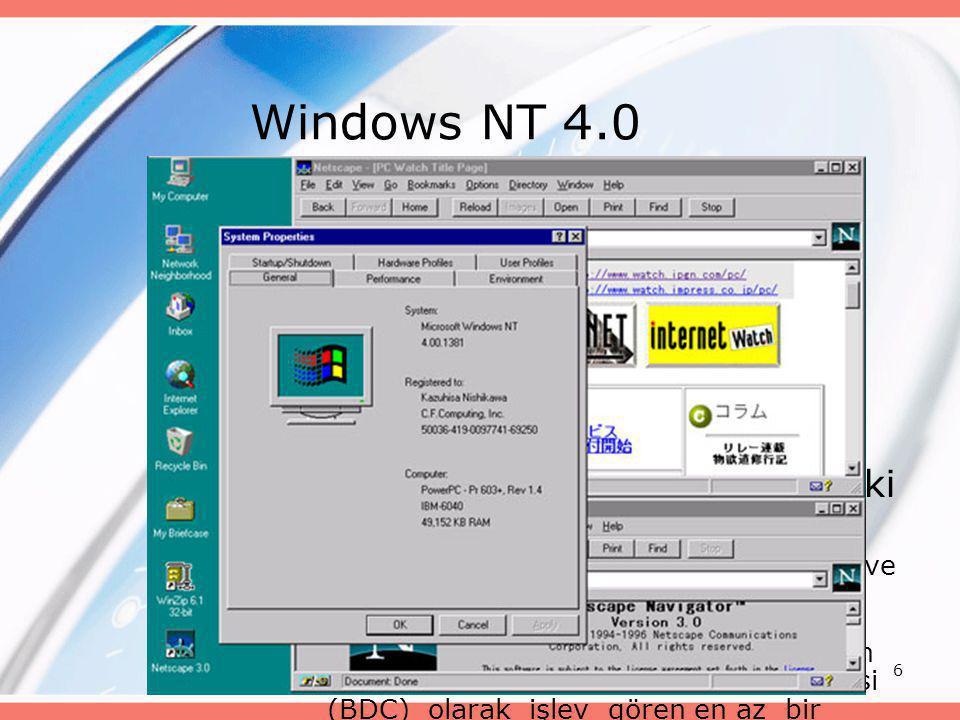 6 Windows NT 4.0 •Windows for Workgroups 3.11'dan sonra çıkan bir ağ işletim sistemidir. •Win 95'in arayüzüne sahiptir •Sunucu-istemci mimarisine uygu