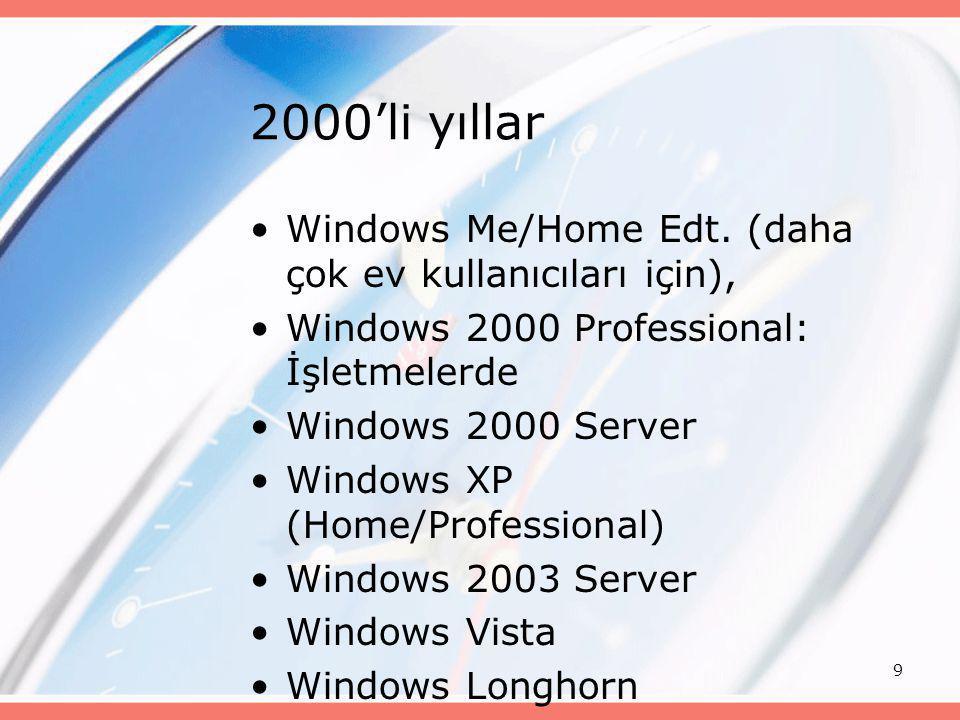 9 2000'li yıllar •Windows Me/Home Edt. (daha çok ev kullanıcıları için), •Windows 2000 Professional: İşletmelerde •Windows 2000 Server •Windows XP (Ho