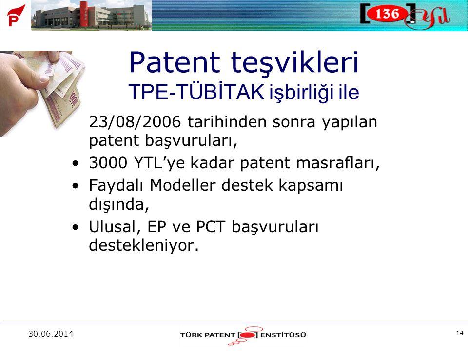 30.06.2014 14 Patent teşvikleri TPE-TÜBİTAK işbirliği ile •23/08/2006 tarihinden sonra yapılan patent başvuruları, •3000 YTL'ye kadar patent masraflar