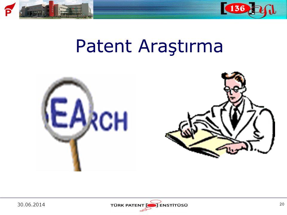 30.06.2014 20 Patent Araştırma