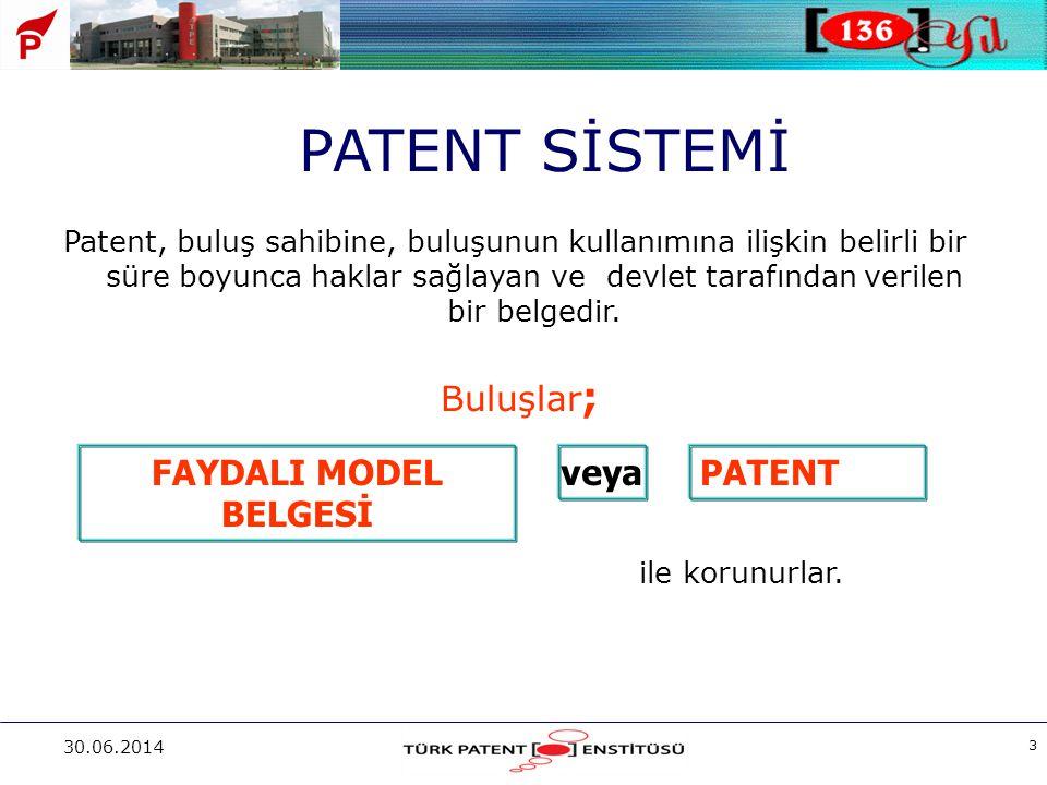 30.06.2014 3 Patent, buluş sahibine, buluşunun kullanımına ilişkin belirli bir süre boyunca haklar sağlayan ve devlet tarafından verilen bir belgedir.