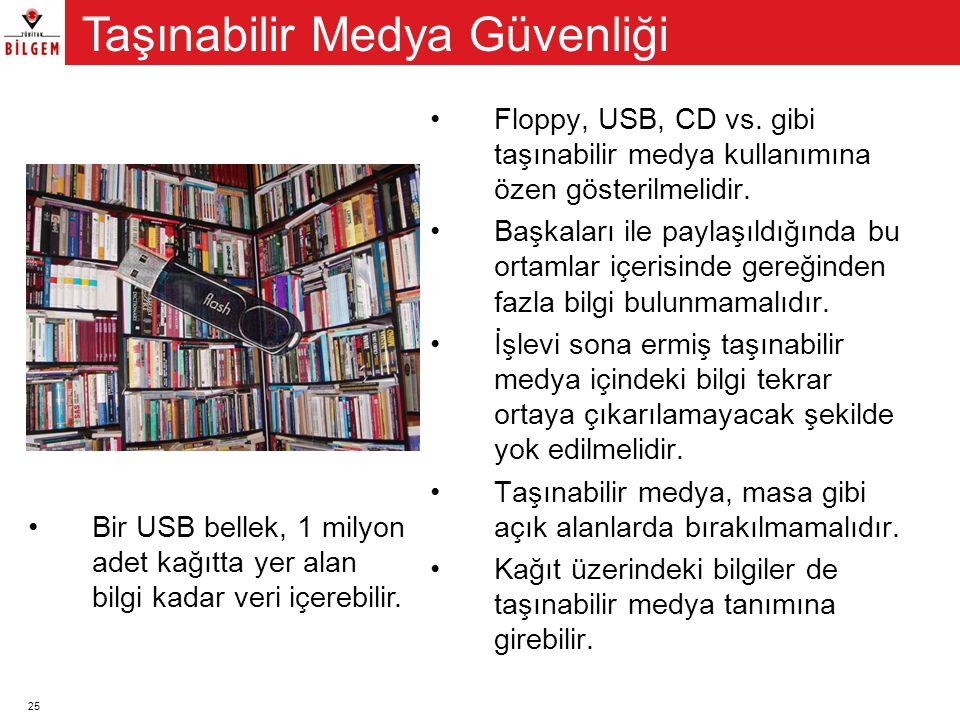 25 •Floppy, USB, CD vs. gibi taşınabilir medya kullanımına özen gösterilmelidir. •Başkaları ile paylaşıldığında bu ortamlar içerisinde gereğinden fazl