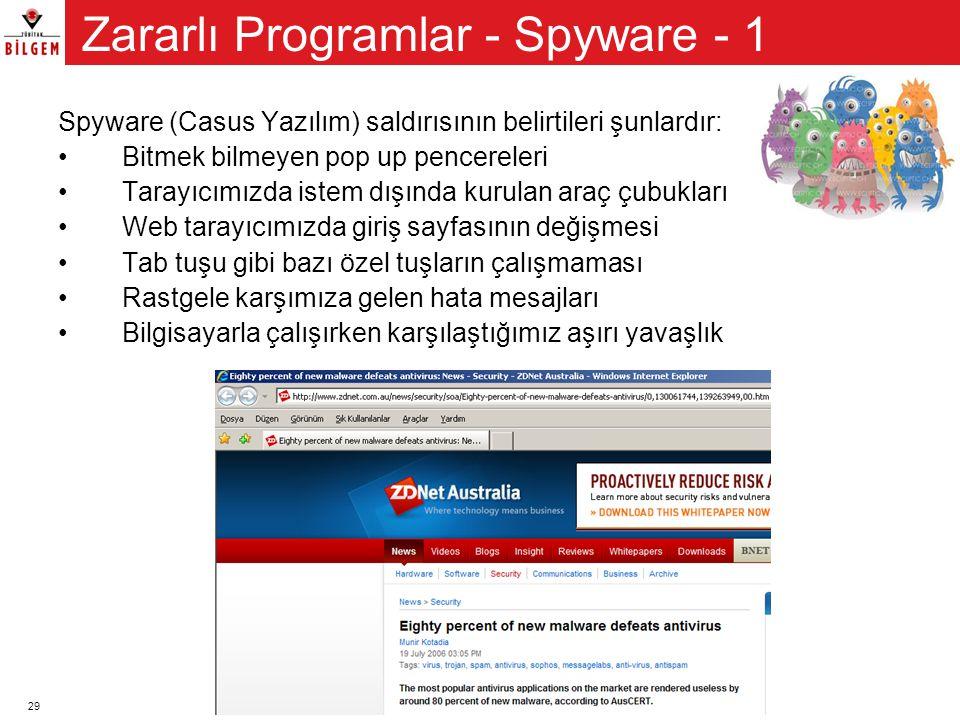 29 Spyware (Casus Yazılım) saldırısının belirtileri şunlardır: •Bitmek bilmeyen pop up pencereleri •Tarayıcımızda istem dışında kurulan araç çubukları