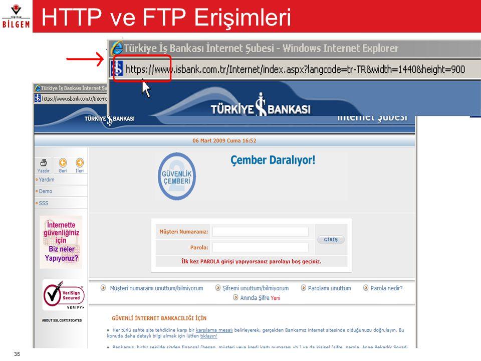 35 HTTP ve FTP veri alışverişini sağlayan erişim protokolleridir. •Spyware, arkakapı (backdoor) programları genellikle HTTP veya FTP erişimleri ile bi