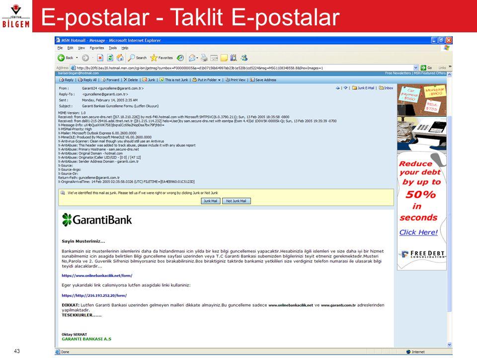 43 E-postalar - Taklit E-postalar