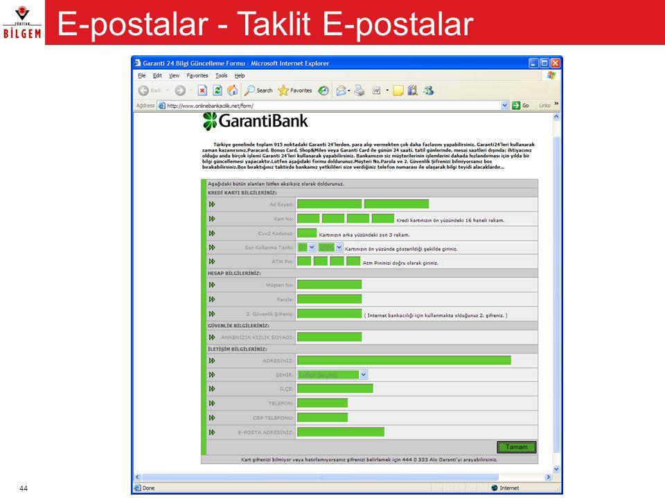 44 E-postalar - Taklit E-postalar