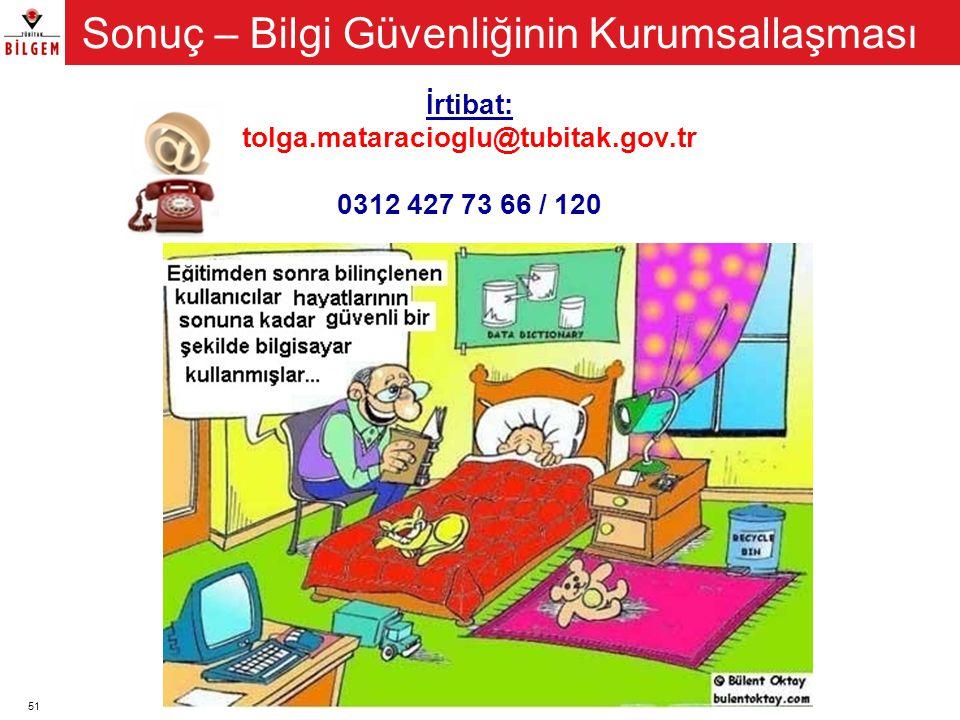 51 İrtibat: tolga.mataracioglu@tubitak.gov.tr 0312 427 73 66 / 120 Sonuç – Bilgi Güvenliğinin Kurumsallaşması