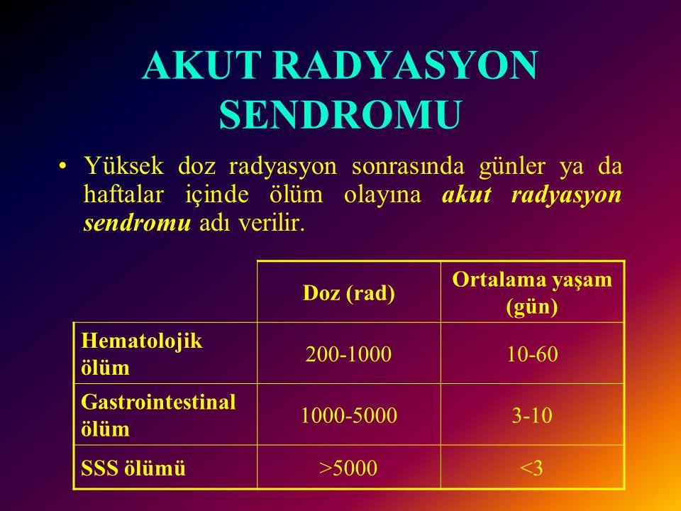 Radyasyon ekspojurunun insandaki belli erken etkileri Etki Işınlanan Bölge Minimum doz(rad) Ölüm Tüm vücut100 Hematolojik Yıkım Tüm vücut 25 Deri eritemi Bölgesel300 Epilasyon Bölgesel300 Kromozom Aberrasyonu Tüm vücut 5 Gonadal Disfonksiyon Bölgesel 10