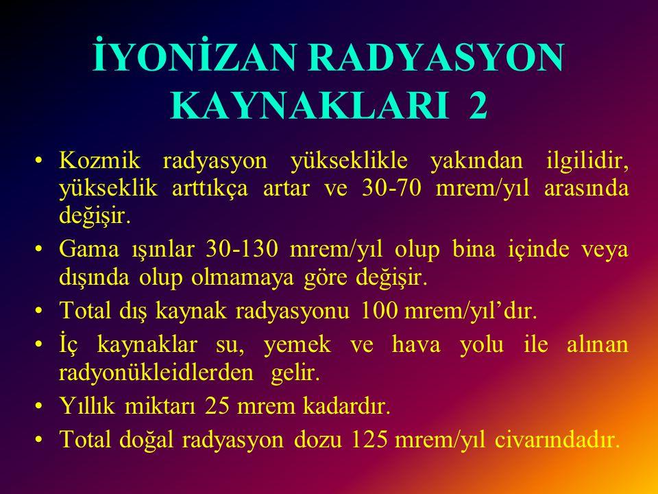 İYONİZAN RADYASYON KAYNAKLARI 2 •Kozmik radyasyon yükseklikle yakından ilgilidir, yükseklik arttıkça artar ve 30-70 mrem/yıl arasında değişir.