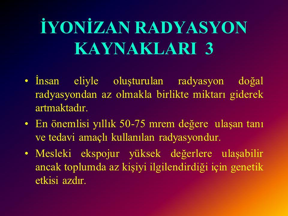 İYONİZAN RADYASYON KAYNAKLARI 3 •İnsan eliyle oluşturulan radyasyon doğal radyasyondan az olmakla birlikte miktarı giderek artmaktadır.