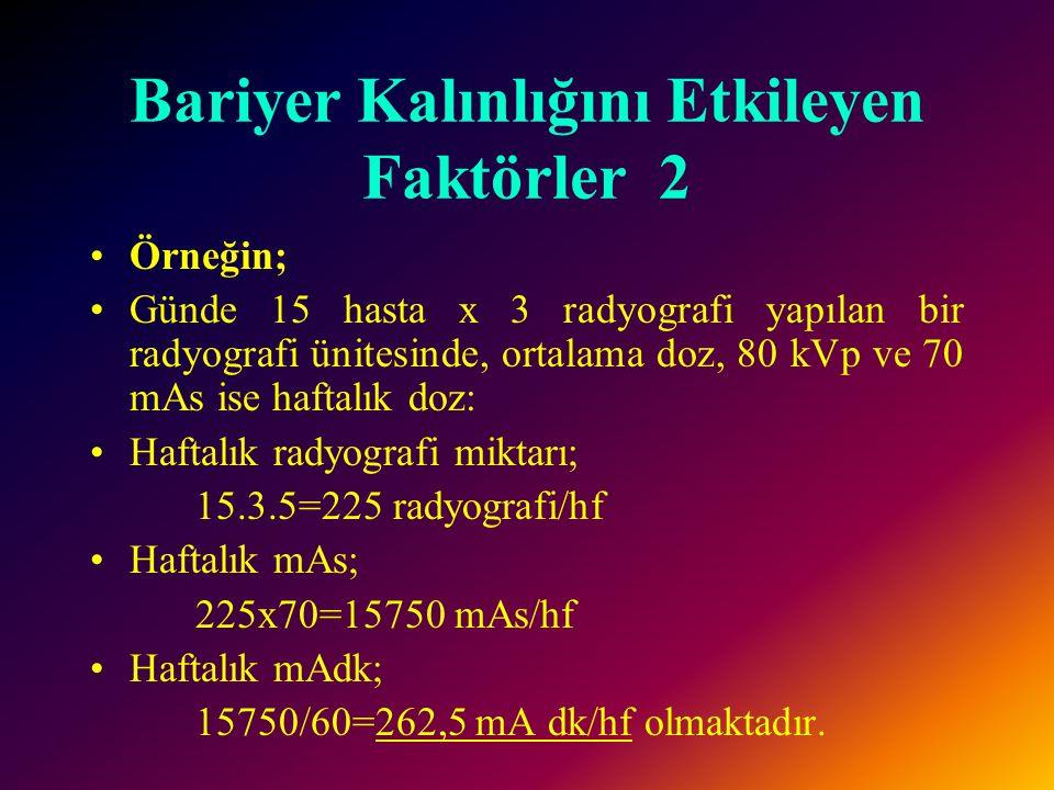 Bariyer Kalınlığını Etkileyen Faktörler 1 1- Radyasyon kaynağına olan mesafe 2- Bariyer arkasının kullanım şekli •Bu alan, devamlı insanların bulunduğu bir yerse 10 mR/hafta kadar bir ekspojur miktarına izin verilebilir.