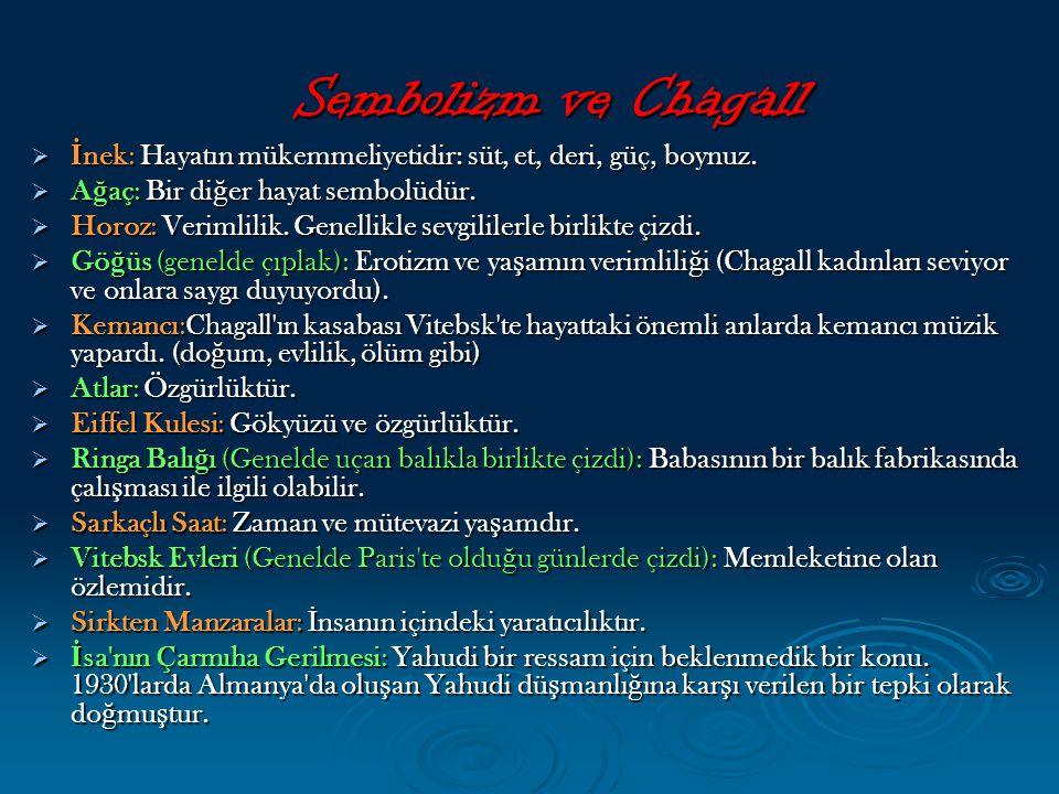 Sembolizm ve Chagall  İ nek: Hayatın mükemmeliyetidir: süt, et, deri, güç, boynuz.  A ğ aç: Bir di ğ er hayat sembolüdür.  Horoz: Verimlilik. Genel