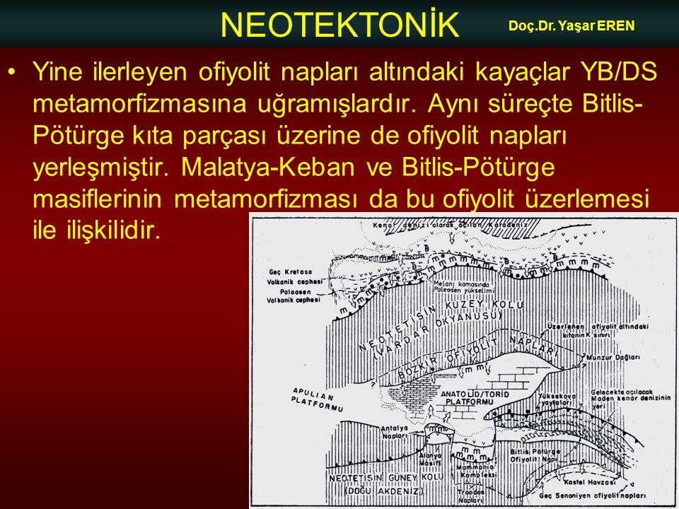 NEOTEKTONİK Doç.Dr. Yaşar EREN •Yine ilerleyen ofiyolit napları altındaki kayaçlar YB/DS metamorfizmasına uğramışlardır. Aynı süreçte Bitlis- Pötürge