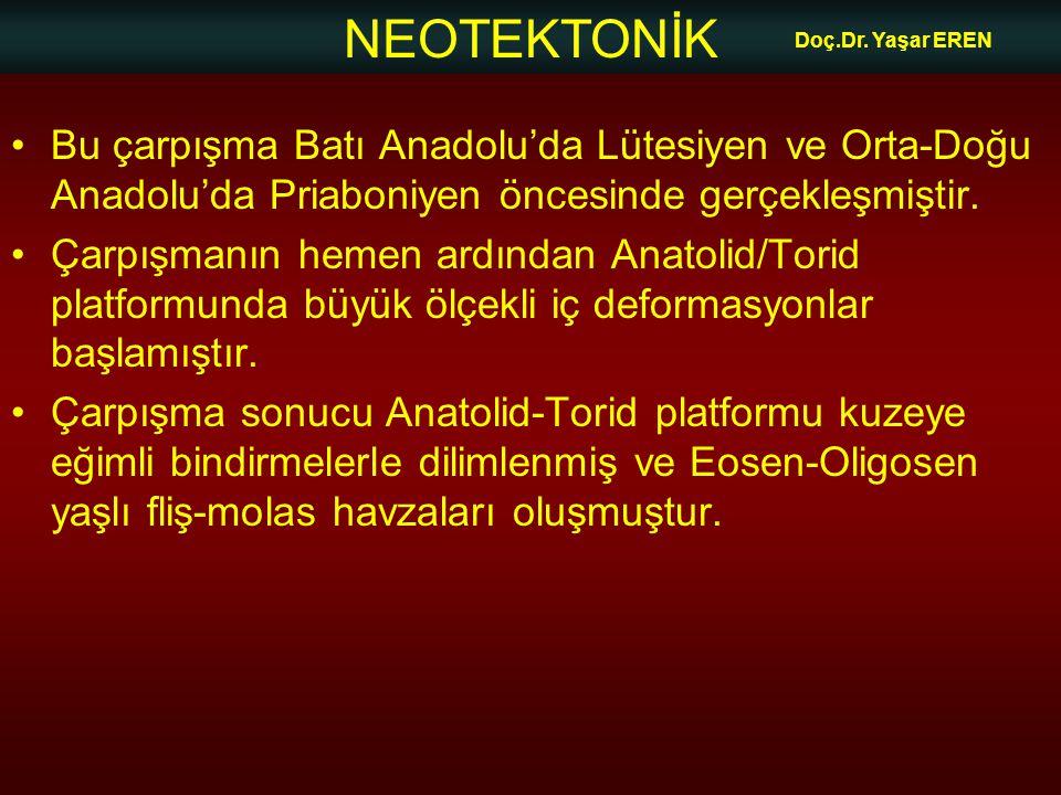 NEOTEKTONİK Doç.Dr. Yaşar EREN •Bu çarpışma Batı Anadolu'da Lütesiyen ve Orta-Doğu Anadolu'da Priaboniyen öncesinde gerçekleşmiştir. •Çarpışmanın heme