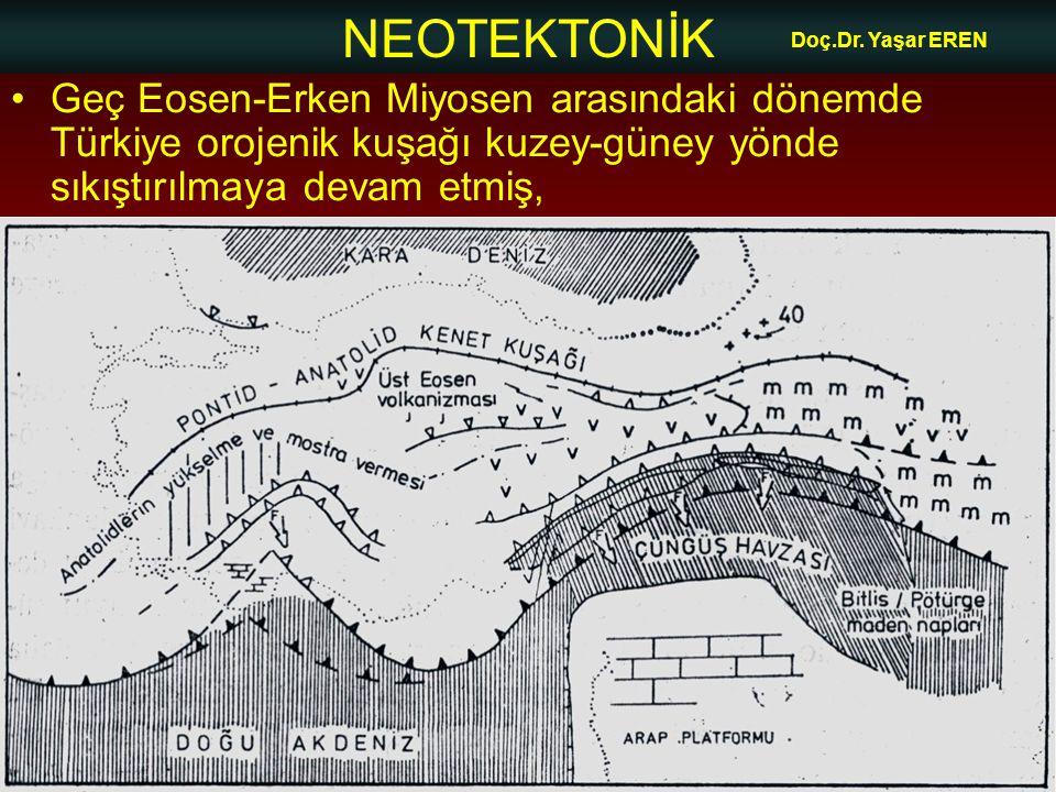 NEOTEKTONİK Doç.Dr. Yaşar EREN •Geç Eosen-Erken Miyosen arasındaki dönemde Türkiye orojenik kuşağı kuzey-güney yönde sıkıştırılmaya devam etmiş,