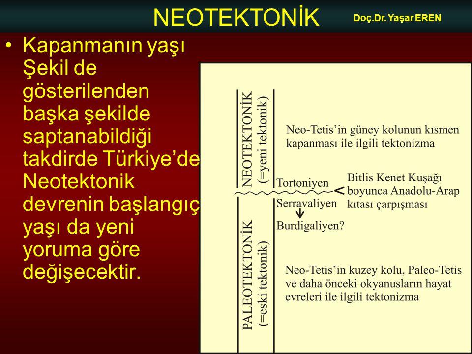 NEOTEKTONİK Doç.Dr. Yaşar EREN •Kapanmanın yaşı Şekil de gösterilenden başka şekilde saptanabildiği takdirde Türkiye'de Neotektonik devrenin başlangıç