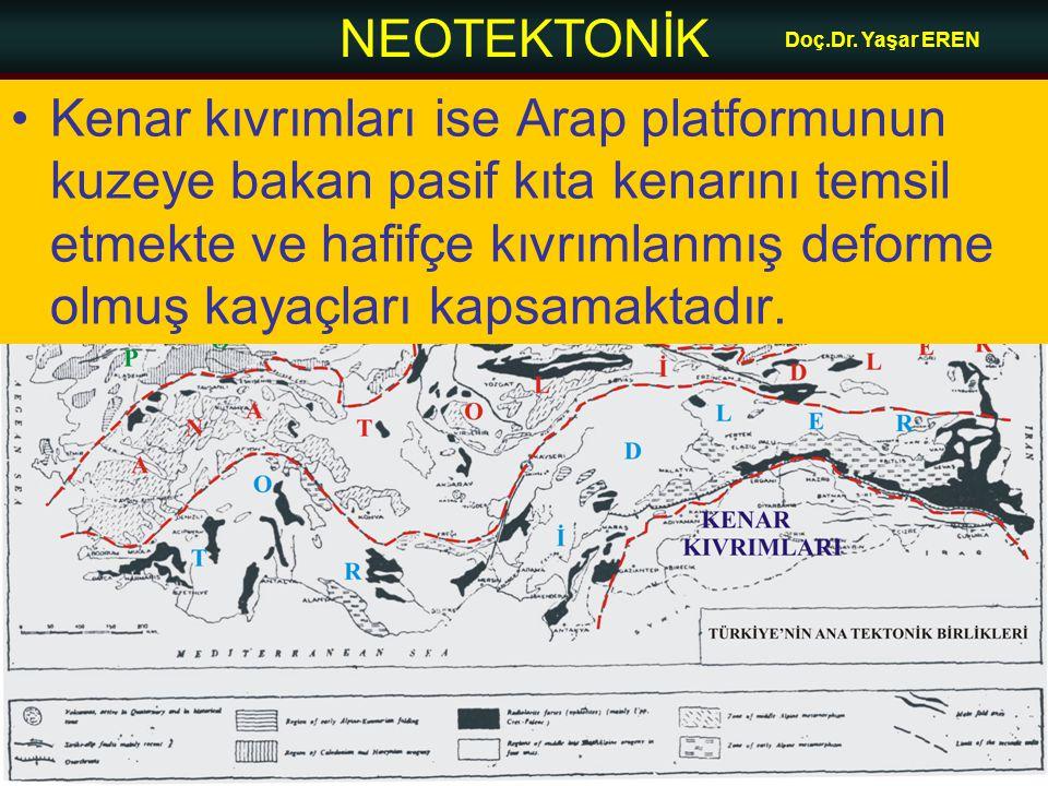 NEOTEKTONİK Doç.Dr. Yaşar EREN •Kenar kıvrımları ise Arap platformunun kuzeye bakan pasif kıta kenarını temsil etmekte ve hafifçe kıvrımlanmış deforme