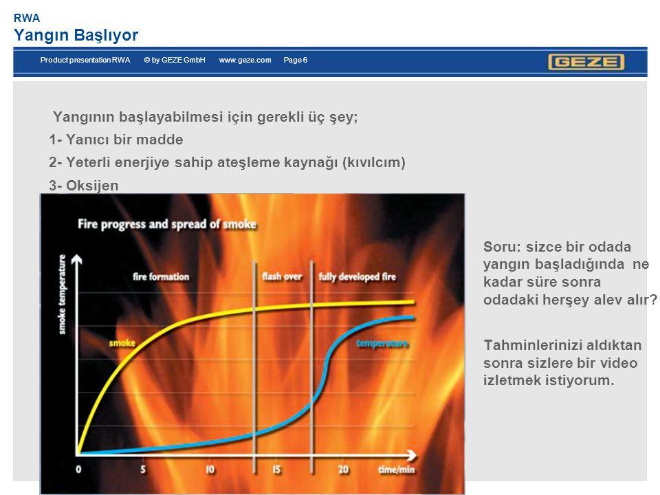 Product presentation RWA © by GEZE GmbH www.geze.com Page 7 RWA Dumanın insan üzerindeki etkisi -Yangındaki ölümlerin %90 ı dumandan kaynaklanır.