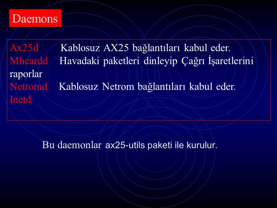 Daemons Ax25d Kablosuz AX25 bağlantıları kabul eder.